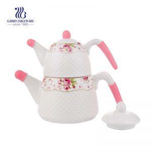Sistema de cerámica del pote del té de la caja de color de la etiqueta personlized uso del hotel de cerámica blanca 2pcs