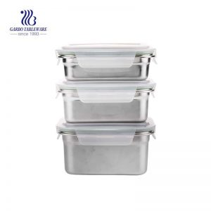 3pcs set of lunch box made of 304 stainless steel and airtight PP lid
