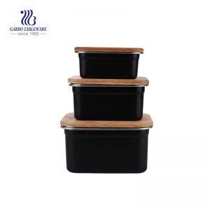 Juego de 3 piezas de recipiente de acero inoxidable pintado de negro con tapa de bambú hermética