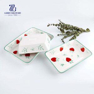 Juego de utensilios para hornear, Juego de platos para hornear de cerámica rectangular resistente al calor Sartenes para cocinar