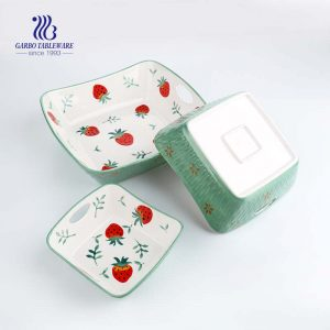Porcelain Rectangle Baking Dish Set of 3, Floral Pizza Pie Cheese Serving Bakeware Oven Household Tableware