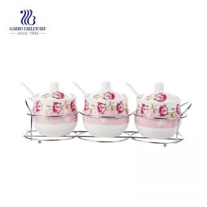 Pink White Ceramic Condiment Pots Spice Jars Sets of 3 Seasoning Box Set with Lid Spoon