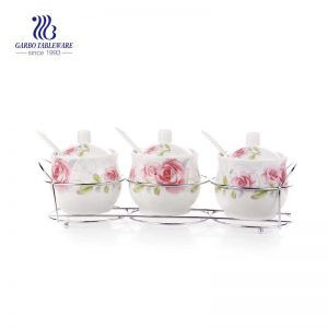 Kitchen Ceramic Sugar Bowls Condiment Spice Pots Seasoning Jars Set with Lid Spoon Sets of 3
