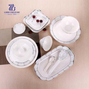 50PCS dinner set wholesale designs ceramic tableware restaurant hotel home use porcelain dinnerware sets