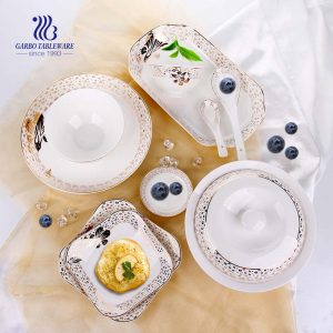 50PCS wholesale nice decal designs ceramic tableware porcelain dinnerware sets for restaurant hotel home
