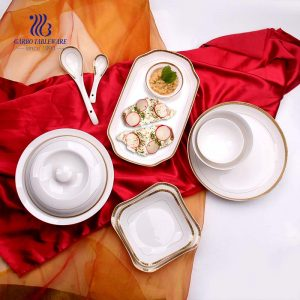 Wholesale price high quality ceramics China dinnerware set luxury fine hotel dinner set