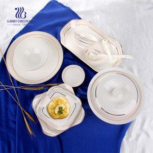 China factory luxury dinner set with gold rim design ceramic dinnerware sets