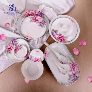 50PCS Wholesale custom ceramic tableware porcelain dinnerware sets for home