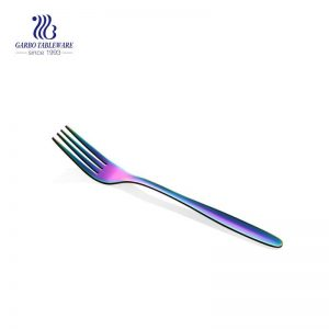 195mm rainbow color stainless steel salad fork with mirror polished craft