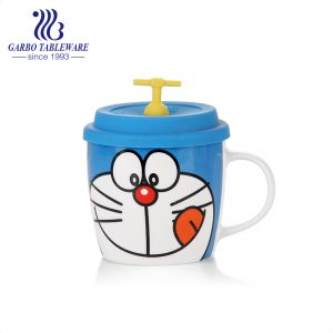 Cute blue cat printing ceramic mug with silicone cover 400ml porcelain cup with handle and lid