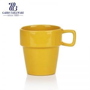 كوب قهوة أصفر لامع بلون واضح 250 مللي يشرب كوب سيراميك بمقبض