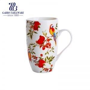 China classic flower printing design 400ml ceramic mug high quality porcelain water mug office drinking cup