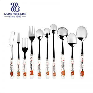 10 Pieces Stainless Flatware Set With Ivory White Ceramic Handle