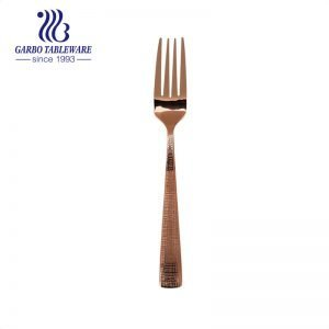 Electroplated amber color 206mm stainless steel salad fork unique flatware