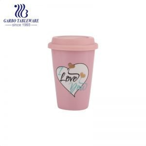 390ml nice design pink glaze porcelain water drinking cup with cusomized logo