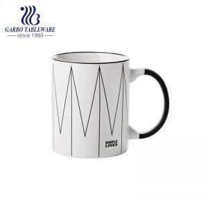 Simple Ins porcelain ceramic mug custom printing lines design drinking cup with black handle