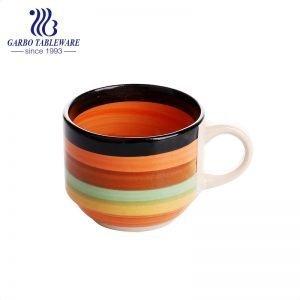 كوب ماء سيراميك ملون بألوان قوس قزح مع كوب ملون لشرب القهوة