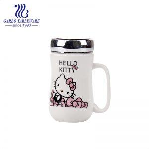 كوب سيراميك مطبوع عليه Hello Kitty Cat 430 مللي مع غطاء برغي معدني بمقبض