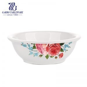 Wholesale round shape big size soup bowl with flower decal for home usage