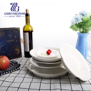 Wholesale cheap hotel restaurant using 8 inch abalone plain white ceramic serving tableware porcelain charger dish plate