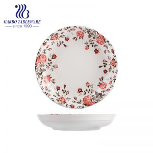 China Factory Cheap Price Nice Flower Design 8 inch Soup Serving Dish Ceramic Dinner Plate