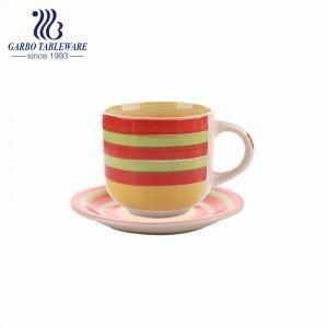 wholesale orange color hand painted teacup set