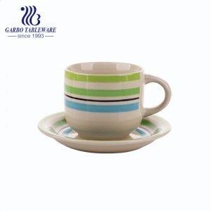الصين الملونة فنجان فنجان وصحن مجموعة مرسومة باليد