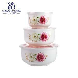 Wholesale high quality 3pcs ceramic bowl set with flower decoration with factory price