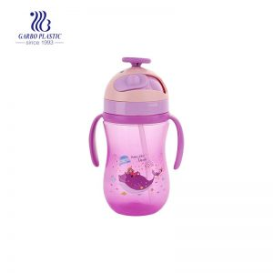 300ml Purple Color Plastic Water Bottle with A Plastic Straw for Children