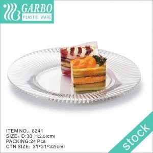 Round 12inch Durable Strong Plastic Serving Platters Stylish Clear Dinner Plates for Outdoor Events