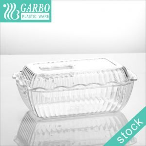 High-quality acrylic transparent rectangle plastic food container with decorative strip pattern with lid for kitchen refrigerator