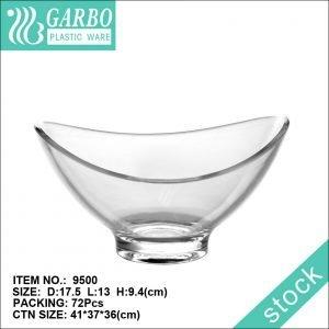 Прозрачная тонкая пластиковая тарелка неправильной формы для десерта, салата, фруктового мороженого, стеклянная миска для ужина, сервировочная миска для салата для домашнего ресторана