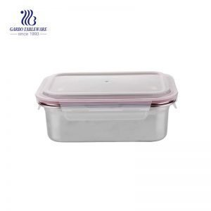 1200ml rectangular stainless steel container with locked plastic lid