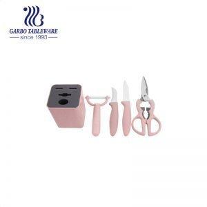 420 مادة مخصصة مجموعة سكاكين المطبخ مربع اللون حزمة عالية الجودة سكين المطبخ 5 قطعة مجموعة سكاكين المطبخ الصديقة للبيئة مع مقبض القمح