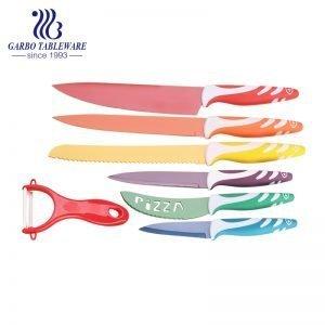 7PCS Máquina prensada de alta calidad Cuchillo de uso de cocina Pulverización Logotipo personalizado 420 Material Cuchillo de cocina y juego de pelador con mango de PP colorido