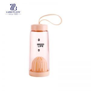 420ml Orange Clear Plastic Water Bottle with a Silicone Lid