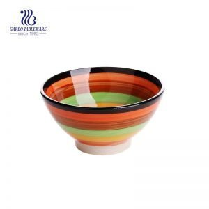 Rainbow series of 350ml colorful ceramic bowl for daily usage