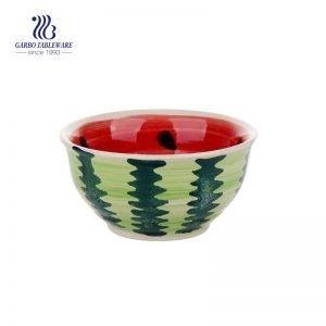 Cuenco de cerámica esmaltado coloreado apto para el microondas del estilo de la fruta 290ml