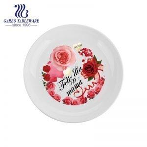 الجملة الرخيصة مخصص تصميم زهرة OEM عشاء يخدم عادي 9inch طبق عشاء الخزف