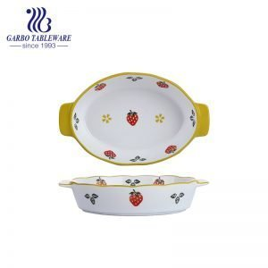 800ml Heat-Resistant Oval Shape Strawberry Printing Porcelain Baking Tray with Handle