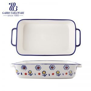 2100ml Heat-Resistant Rectangle Shape Ceramic Baking Plate Cooking Pans with handle
