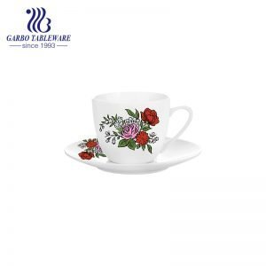 Rose design decal small coffee cup and saucer set
