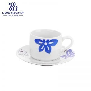 classic round shape stoneware cup and saucer set with flower design