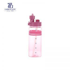 Botella de plástico de uso seguro de color rosa de 600 ml y 21 oz a granel sin BPA