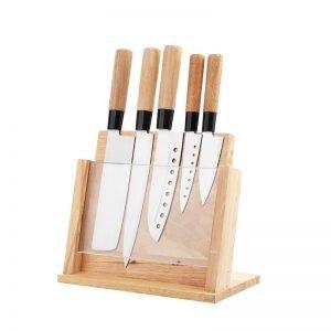 FOB 5PCS Juego de cuchillos de cocina de acero inoxidable profesional 420 pulido espejo con mango de madera