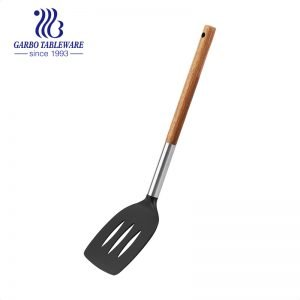Silicone Kitchen Utensils Kitchen Chef Nonstick Cookware with Spatula Set With Bamboo Handle printing logo