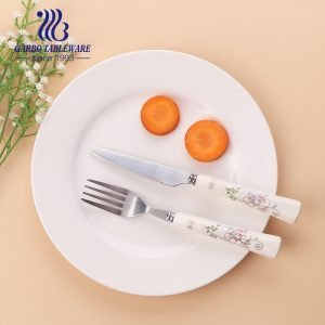 2 PCS Outdoor stainless steel cutlery set ceramic include knife/Fork mirror polished