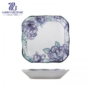 Factory cheap fancy custom flower design ceramic dinnerware 8.5inch square porcelain dinner plate