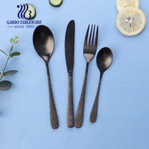 Durable new design black plating flatware set customized design with laser