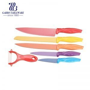 Superior Quality China Factory Spraying Technology Gift Box 6pcs Environmental Friendly SS420 Material Kitchen Knife Set With Colorful Handle